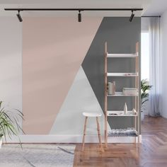 Shapes in Soft Colors on Dusty Rose Wall Mural by blerta Bedroom Wall Designs, Bedroom Wall Colors, Bedroom Decor, Wall Decor, Geometric Wall Paint, Room Wall Painting, Triangle Wall, Block Wall, Concrete Wall