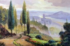 Painting: Italian Tuscany Castle River Country Landscape Stretched 24X36 Oil Painting Art