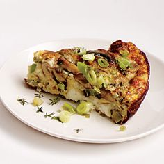 Mushroom, Leek, and Fontina Frittata | Cooking Light #myplate #protein #dairy #veggies