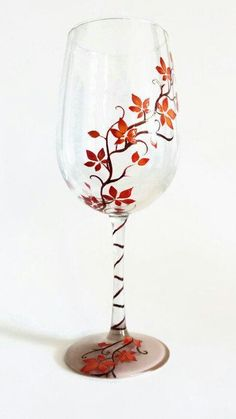 Hand Painted Wine Glass Colorful Vines Custom Color Leaves Pretty Nature Stylish Swirls Bridesmaid Gift Wedding Toasting Stemware Birthday Thanksgiving Decor Hand Painted Wine Glass by LKCustomCreations Diy Wine Glasses, Decorated Wine Glasses, Hand Painted Wine Glasses, Wine Glass Crafts, Wine Bottle Crafts, Bottle Painting, Bottle Art, Wine Glass Designs, Glass Painting Designs