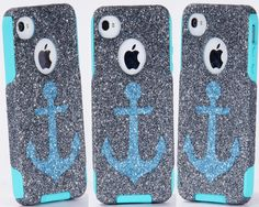 iPhone4+Otterbox+Case+iPhone+4+Case+Glitter+Ocean+Anchor+by+1WinR,+$49.99