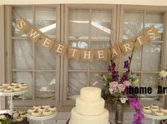 SWEETS burlap banner - Wedding reception Decor Sign- Dessert table - Cake table Sweet hearts decoration