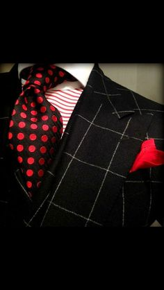 #RedandBlack Men's Suit Outfit on a #RedandWhite Striped Dress Shirt and a Red Pocket Square