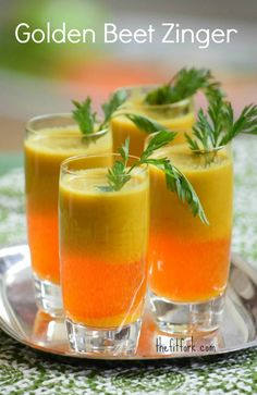 Golden Beet Zinger by thefitfork: Healthy detox juice made from granny smith apple, golden beet, carrots and ginger. #Juice #Apple #Beet #Carrot #Ginger #Healthy