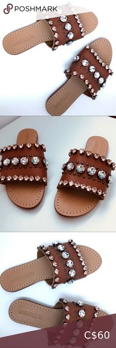 EUC Genuine Leather Sandals Brown Rhinestones Beautiful Flat Sandals with sparkly gems 💎what a fabulous find. Size 8 on bigger side. Please check all pictures. Brown Leather Sandals, Brown Sandals, Flat Sandals, Women's Shoes Sandals, Palm Beach Sandals, Rhinestones, Plus Fashion, Fashion Tips, Check