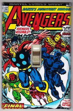 Avengers Light Switch Cover Plate - Avengers 122 Marvel Comics Thor Iron Man Black Panther Vision by SuperheroWallArt on Etsy Avengers Comic Books, Marvel Comics Superheroes, Comic Book Heroes, Marvel Heroes, Marvel Characters, Comic Books Art, Book Art, Marvel Fan, Caricature