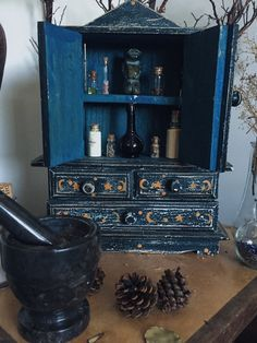 "rosemary-by-your-garden-gate: "" 🔮witches cabinet appreciation🔮 "" Wiccan Decor, Wiccan Altar, Witch Cottage, Witch House, Magick, Witchcraft, Witch Room, Modern Witch, Witch Aesthetic"