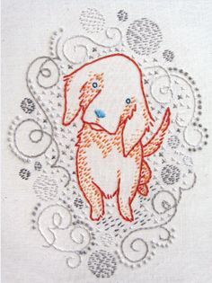 Hand embroidery // Golden puppy // Pattern and Kit from Penguin & Fish