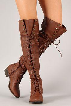 Image of Tan Knee High Combat Boots