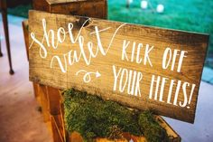Love this wedding idea - a shoe valet for dancing! Guests were encouraged to kick off their heels at the shoe valet {Lena Mirisola Photography}