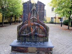 Carved bench featuring Celtic knot in Ennis, County Clare, Ireland.