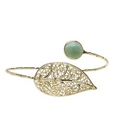 Take a look at this Green Aventurine & Gold Filigree Leaf Cuff Bracelet today!