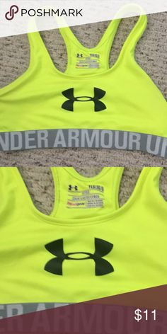 305d694229 Shop Kids  Under Armour Gray Yellow size YLG Other at a discounted price at  Poshmark. Description  Under Armour Sz YLG girls sports bra.
