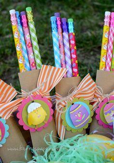 Darling Easter pencil packs in little brown paper sacks...  LOVE!