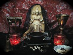 Altar to Hekate, Queen of the Crossroads, Greek Goddess. Pagan Altar, Wiccan, Magick, Witchcraft, Pagan Witch, Witches, World Religions, Gods And Goddesses, Samhain