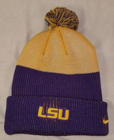 4ccdff3918316 Details about NEW NIKE LSU TIGERS NEW DAY CUFFED KNIT HAT W  POM BEANIE  WINTER HAT