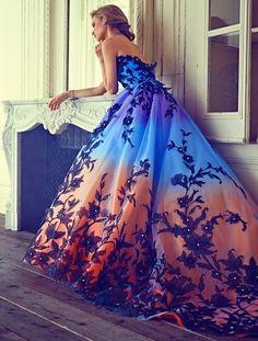 #Amazing beauty! #Beautiful dress! #Blue-orange long dress!