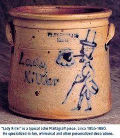 Charles W. Pfaltzgraff was a son of Cornelius Pfaltzgraff who was a… Antique Crocks, Old Crocks, Antique Stoneware, Stoneware Crocks, Antique Pottery, Earthenware, Pottery Art, Wooden Snowmen, Primitive Snowmen