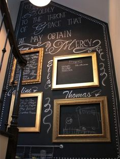 The staircase is definitely a feature in this home, with it's chalkboard painted wall and famed art. - See more at: http://www.home-dzine.co.za/craft/craft-ro-chalkwalls.html#sthash.W3oppwn8.dpuf