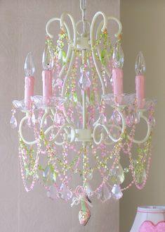 Vintage Inspired Diva Dazzling Princess Slipper Pink Green Sparkling Crystal chains, 5 Light Chandelier