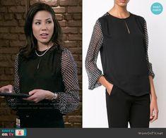 Angela's black blouse with polka dot sleeves on Bones.  Outfit Details: https://wornontv.net/57440/ #Bones Buy it at Farfetch: http://wornon.tv/35911