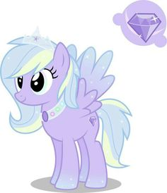 Diamond Shine is a pegasus who loves glitter. She has a weak spot for anything shiny and her talent is diamond identifying. She isn't stuck up and treats everypony well. Her favorite thing to do is have dinner parties with all of her friends. She also admires all the princess, but her favorite is Cadence. ADOPTED BY ELIZABETH LOYD