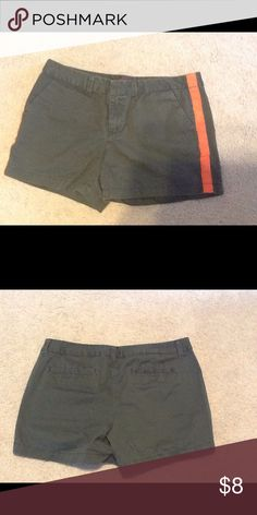 Women's shorts Excellent condition women's shorts. Size 12. Army green with an orange stripe on each side.  with an orange stripe on each side. Merona Shorts