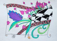 A bit of colour zentangle a-dalpha fern poke leaf knightsbridge phicops judi_art