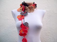 Handmade crochet Lariat Scarf  Red Orange Brown Black  Flower Lariat Scarf Colorful Variegated Long Necklace  winter fashion