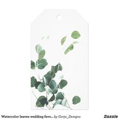 Watercolor leaves wedding favor tag