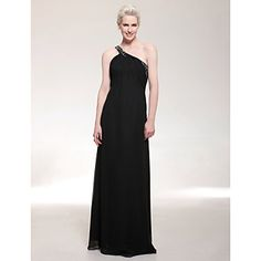 TS+Couture®+Formal+Evening+/+Military+Ball+Dress+-+Open+Back+Plus+Size+/+Petite+Sheath+/+Column+One+Shoulder+Floor-length+Chiffon+with+Beading+/+Side+–+CAD+$+111.19