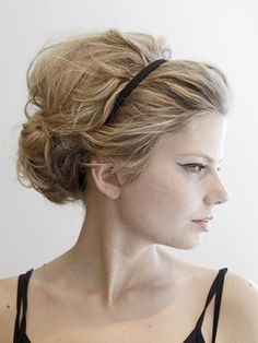 messy updo with skinny headband