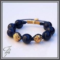 Lapis Lazuri Gold Beads shamballa Bracelet by FutureArtJewelry, $115.00