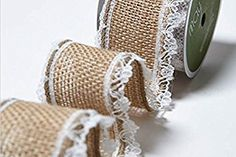 Natural Lace Edged Burlap 38mm May Arts Ribbon on a 2m length (N.B. this is a cut from a roll)