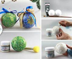 Bolas de navidad Christmas Crafts, Christmas Decorations, Xmas, Christmas Tree, Christmas Ornaments, Christmas Ideas, Ideas Geniales, Diy, Wreaths