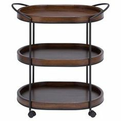 "3-tier wood serving cart with casters.    Product: Serving cartConstruction Material: Metal and woodColor: Dark natural and blackFeatures: Three tiersDimensions: 30"" H x 26"" W x 16"" D"