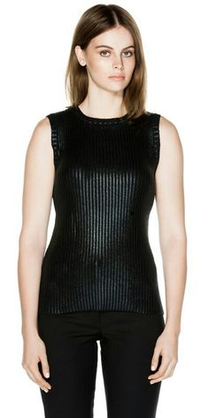 """CUE Metallic Sleeveless Rib Top. """"Crafted from coated wool blend yarn, this sleeveless knit features ribbing at the round neckline and armhole."""""""