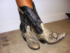 Vintage  CowBoy snakeskin boots custom made  by JandVAddicted,
