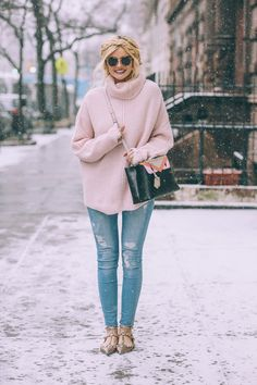Winter style with an oversized sweater, jeans, and studded flats #fashion #style #inspiration