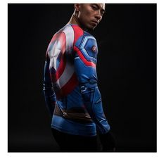 Power Idol Long Sleeve Compression Shirt with a shield on the back - Captain America Long Sleeve Tops, Long Sleeve Shirts, Super Hero Shirts, Derby Outfits, Captain America Shield, 3d T Shirts, Swag Style, Fashion Fabric, Superhero
