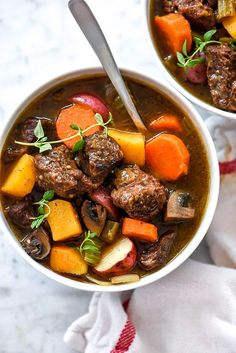 Tender chuck roast pairs with classic stew veggies and butternut squash in this healthy fall stew made in the Instant Pot, pressure cooker or slow cooker.