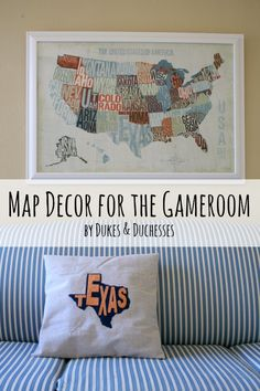 map artwork and a coordinating DIY state pride pillow