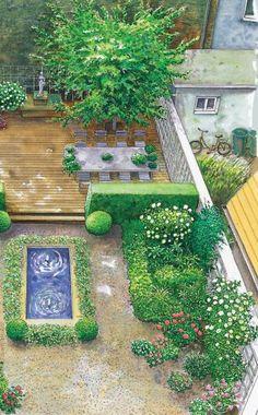 Gestaltungsvorschlag für einen Stadtgarten im Schatten