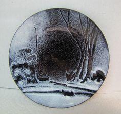 Mid Century Gerte Hacker Enamel Art Winter Scene Trinket Dish Tray Artwork #WinterScene