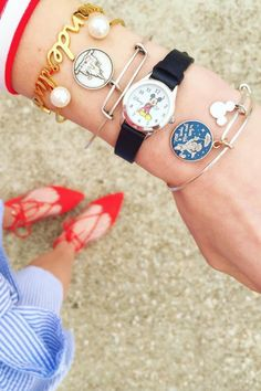 3 seriously cute ways to style your Disney bracelet stacks. | Jewelry inspiration | [ https://style.disney.com/fashion/2016/04/04/disney-bracelet-stacks/ ]