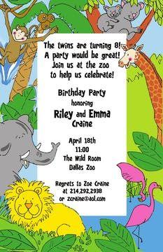 Kids Birthday Invitations - partyinvitations.com Dallas Zoo, Birthday Invitations Kids, Free Paper, Invitation Design, Card Stock, Paper Board