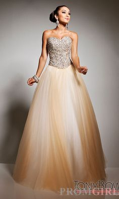 Prom Dresses, Celebrity Dresses, Sexy Evening Gowns at PromGirl: Long Gold Strapless Ball Gown