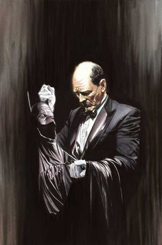 Alfred Pennyworth contemplating Batman's costume, by Alex Ross