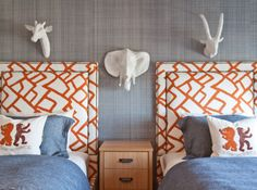 cute shared kid bedroom with orange and blue bedroom decor, nautical kid bedroom, shared kid room design with orange upholstered headboards and blue bedding, animal kid room at lake house or cottage Kids Bedroom Designs, Boys Bedroom Decor, Kids Room Design, Rooms Home Decor, Blue Bedroom, Nursery Design, Bedroom Ideas, Cubs Room, Boy And Girl Shared Room