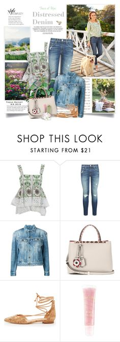 """Tear it Up: Distressed Denim"" by thewondersoffashion ❤ liked on Polyvore featuring Tory Burch, rag & bone, Yves Saint Laurent, PLANT, Fendi, Schutz, Lancôme and Acqua di Parma"